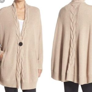 UGG Angeline Tan Cable Knit Poncho